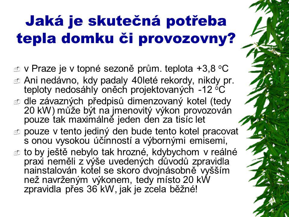 Jaká je skutečná potřeba tepla domku či provozovny?  v Praze je v topné sezoně prům. teplota +3,8 o C  Ani nedávno, kdy padaly 40leté rekordy, nikdy