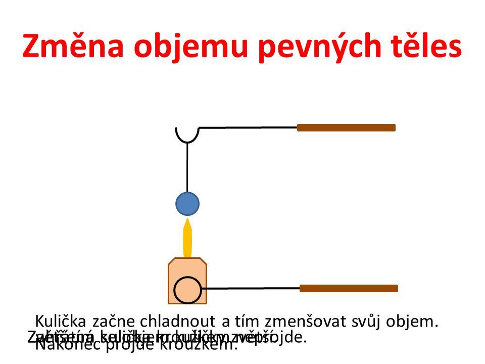 Změna objemu pevných těles Zahřátím se objem kuličky zvětší.Zvětšená kulička kroužkem neprojde. Kulička začne chladnout a tím zmenšovat svůj objem. Na