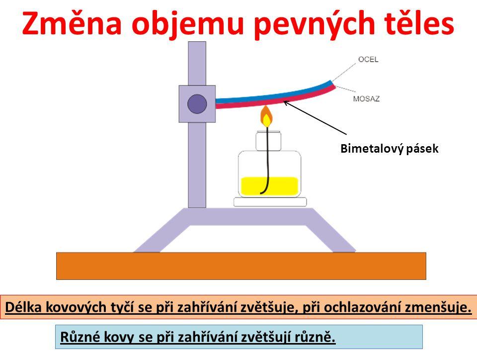 Změna objemu kapalin a plynů horká voda v kádince Objem kapalin se při zahřívání zvětšuje, při ochlazování zmenšuje.
