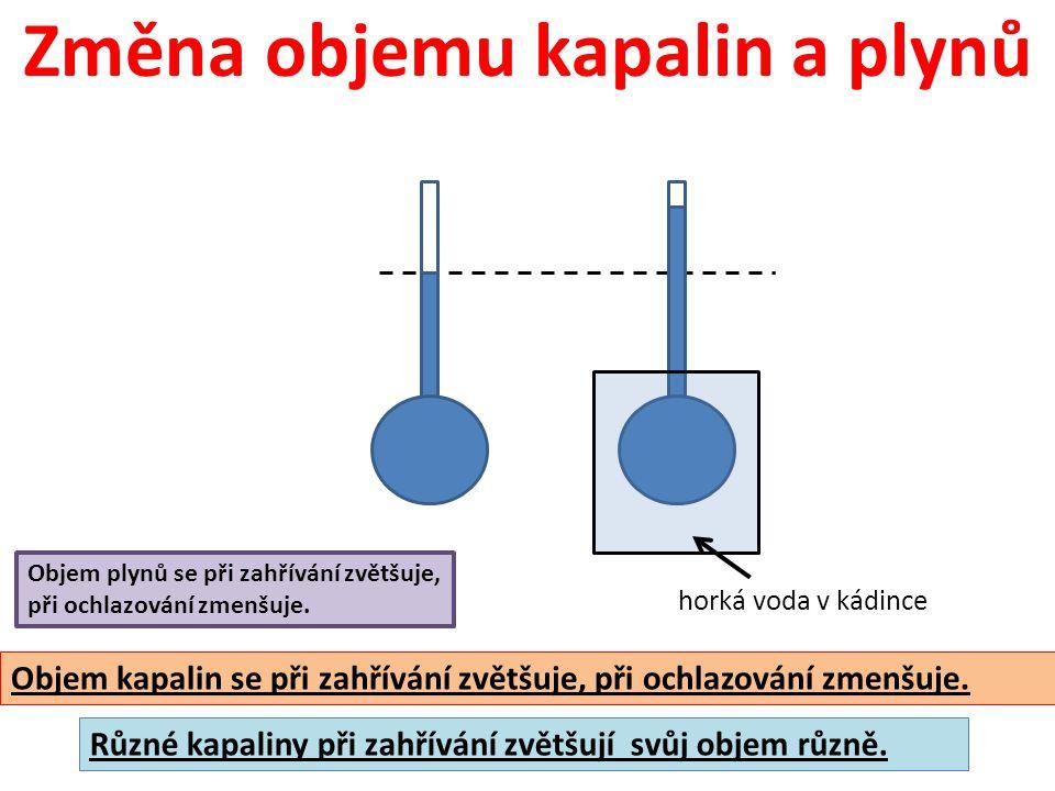 Změna objemu kapalin a plynů horká voda v kádince Objem kapalin se při zahřívání zvětšuje, při ochlazování zmenšuje. Různé kapaliny při zahřívání zvět