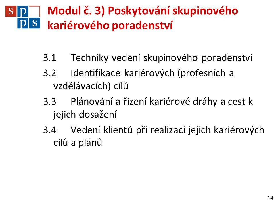 Modul č. 3) Poskytování skupinového kariérového poradenství 3.1Techniky vedení skupinového poradenství 3.2Identifikace kariérových (profesních a vzděl