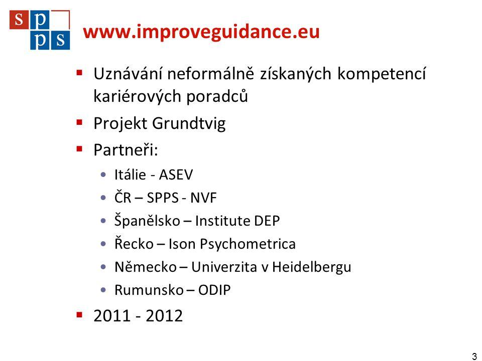 www.improveguidance.eu  Uznávání neformálně získaných kompetencí kariérových poradců  Projekt Grundtvig  Partneři: •Itálie - ASEV •ČR – SPPS - NVF