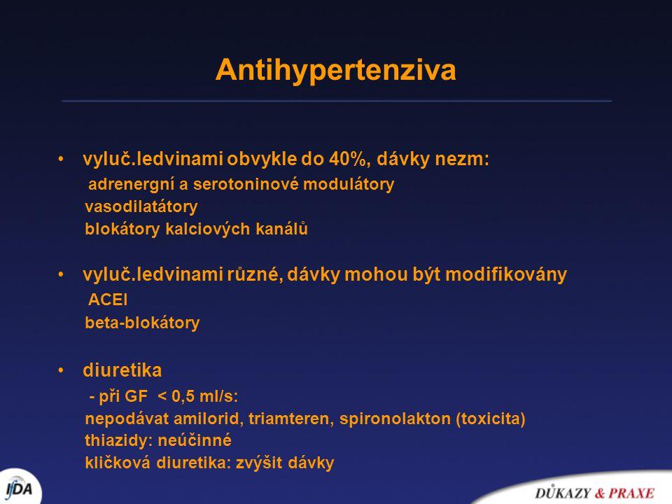 Antihypertenziva •vyluč.ledvinami obvykle do 40%, dávky nezm: adrenergní a serotoninové modulátory vasodilatátory blokátory kalciových kanálů •vyluč.l