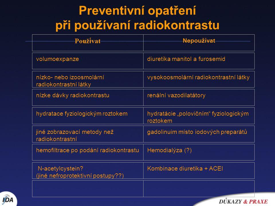 Preventivní opatření při používaní radiokontrastu Použ í vat Nepoužívat volumoexpanzediuretika manitol a furosemid nízko- nebo izoosmolární radiokontr
