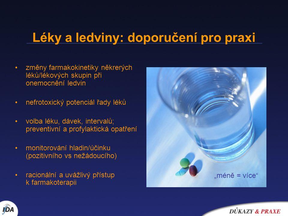 Léky a ledviny: doporučení pro praxi •změny farmakokinetiky někrerých léků/lékových skupin při onemocnění ledvin •nefrotoxický potenciál řady léků •vo