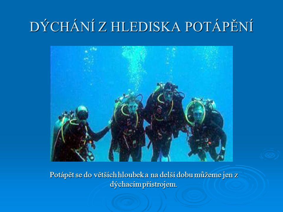 DÝCHÁNÍ Z HLEDISKA POTÁPĚNÍ Potápět se do větších hloubek a na delší dobu můžeme jen z dýchacím přístrojem.