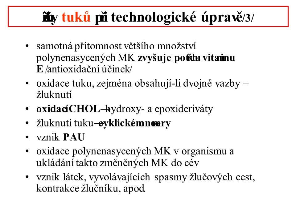 Změny tuků při technologické úpravě /3/ •samotná přítomnost většího množství polynenasycených MK zvyšuje potřebu vitaminu E /antioxidační účinek/ •oxidace tuku, zejména obsahují-li dvojné vazby – žluknutí •oxidací CHOL → hydroxy- a epoxideriváty •žluknutí tuku → cyklické monomery •vznik PAU •oxidace polynenasycených MK v organismu a ukládání takto změněných MK do cév •vznik látek, vyvolávajících spasmy žlučových cest, kontrakce žlučníku, apod.