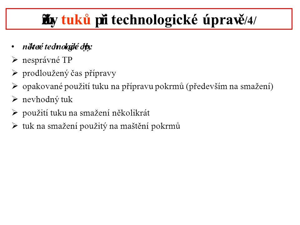 Změny tuků při technologické úpravě /4/ •některé technologické chyby:  nesprávné TP  prodloužený čas přípravy  opakované použití tuku na přípravu p