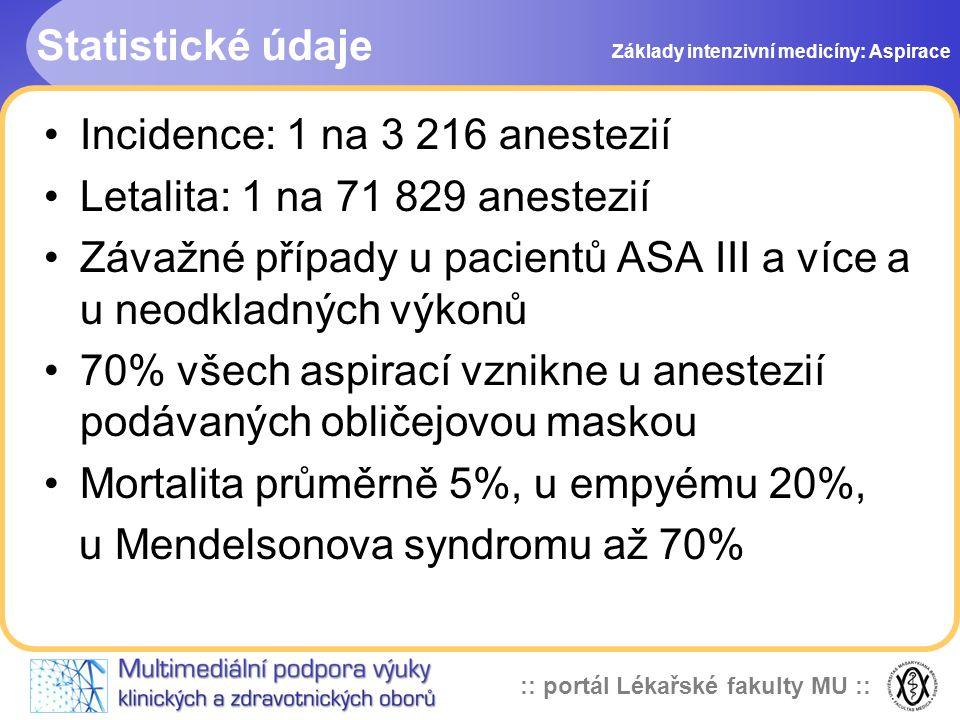 :: portál Lékařské fakulty MU :: Statistické údaje •Incidence: 1 na 3 216 anestezií •Letalita: 1 na 71 829 anestezií •Závažné případy u pacientů ASA III a více a u neodkladných výkonů •70% všech aspirací vznikne u anestezií podávaných obličejovou maskou •Mortalita průměrně 5%, u empyému 20%, u Mendelsonova syndromu až 70% Základy intenzivní medicíny: Aspirace