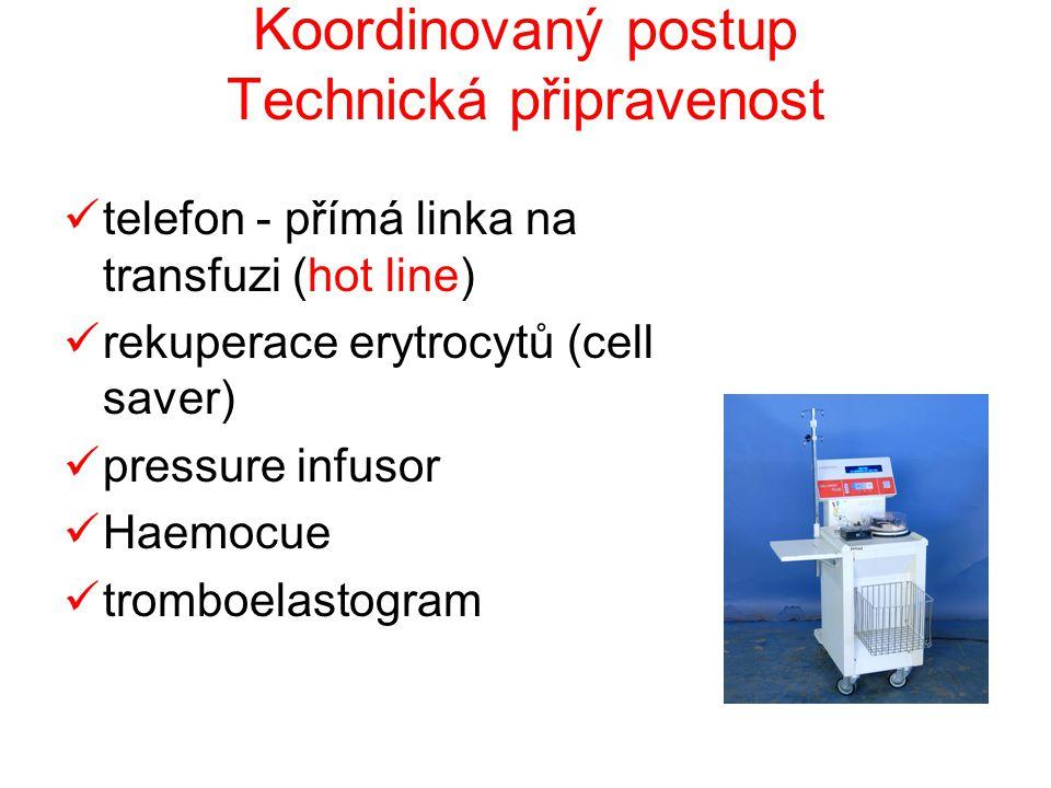 Koordinovaný postup Technická připravenost  telefon - přímá linka na transfuzi (hot line)  rekuperace erytrocytů (cell saver)  pressure infusor  H