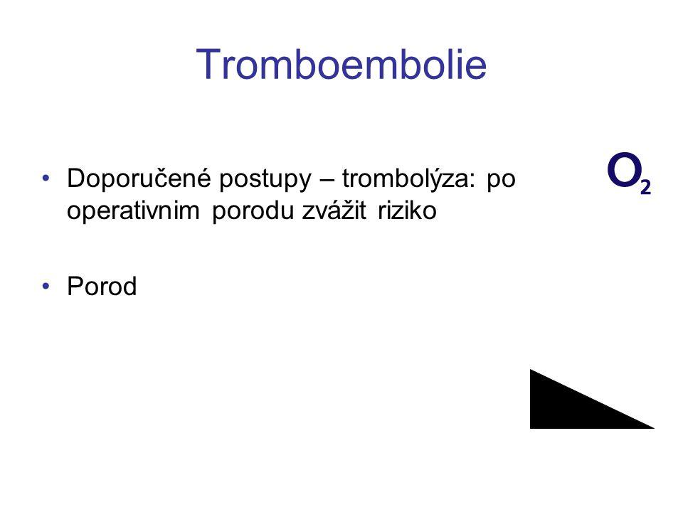 Tromboembolie •Doporučené postupy – trombolýza: po operativnim porodu zvážit riziko •Porod