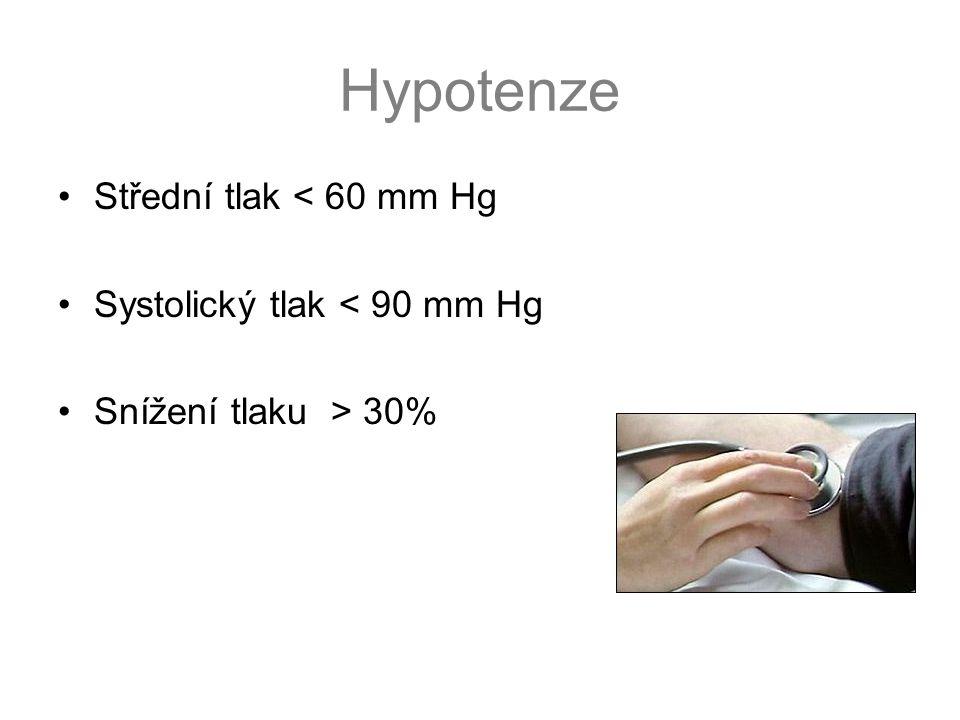 Hypotenze •Střední tlak < 60 mm Hg •Systolický tlak < 90 mm Hg •Snížení tlaku > 30%