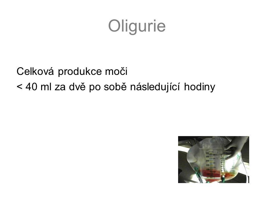 Oligurie Celková produkce moči < 40 ml za dvě po sobě následující hodiny