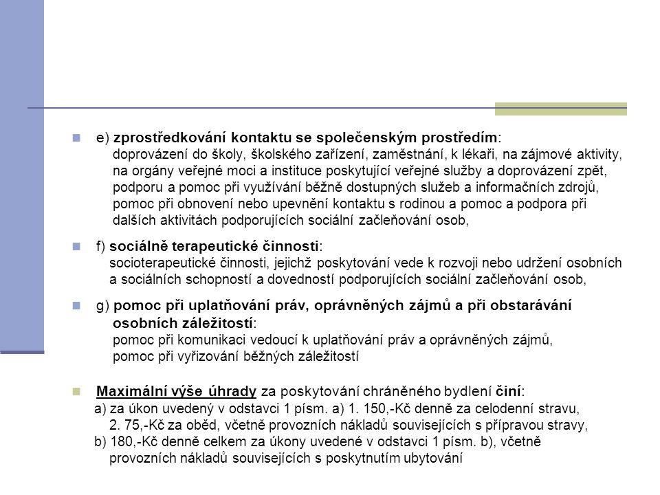 e) zprostředkování kontaktu se společenským prostředím: doprovázení do školy, školského zařízení, zaměstnání, k lékaři, na zájmové aktivity, na orgá