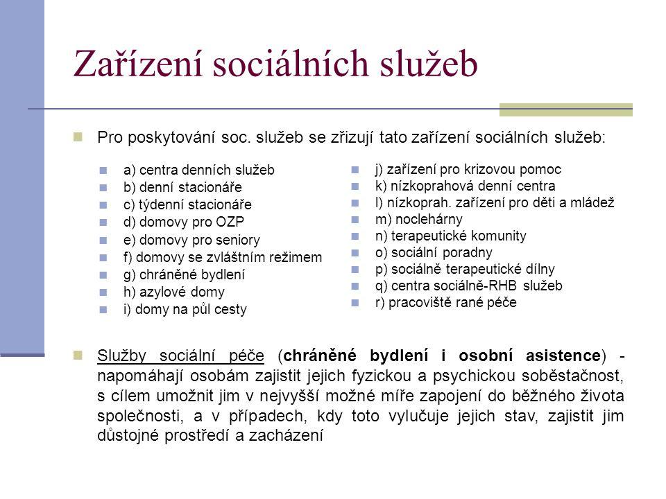  Pro poskytování soc. služeb se zřizují tato zařízení sociálních služeb:  Služby sociální péče (chráněné bydlení i osobní asistence) - napomáhají os