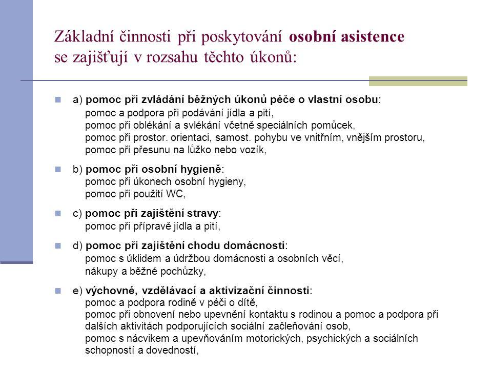 Základní činnosti při poskytování osobní asistence se zajišťují v rozsahu těchto úkonů:  a) pomoc při zvládání běžných úkonů péče o vlastní osobu: po