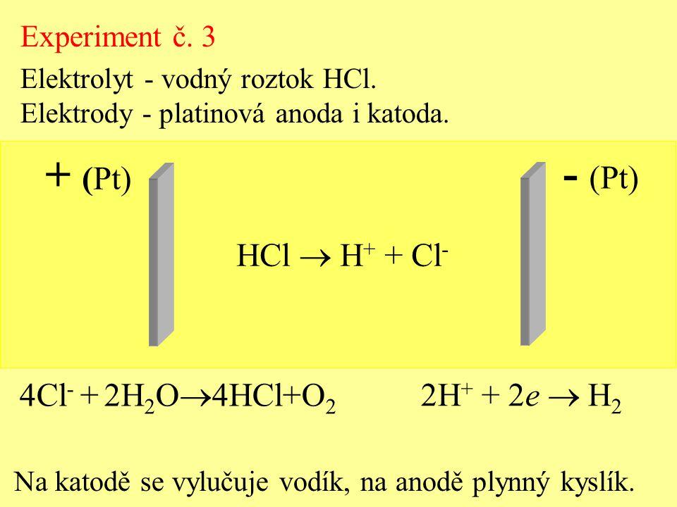 HCl  H + + Cl - Experiment č. 3 Elektrolyt - vodný roztok HCl. Elektrody - platinová anoda i katoda. + (Pt) - (Pt) 2H + + 2e  H 2 4Cl - + 2H 2 O  4