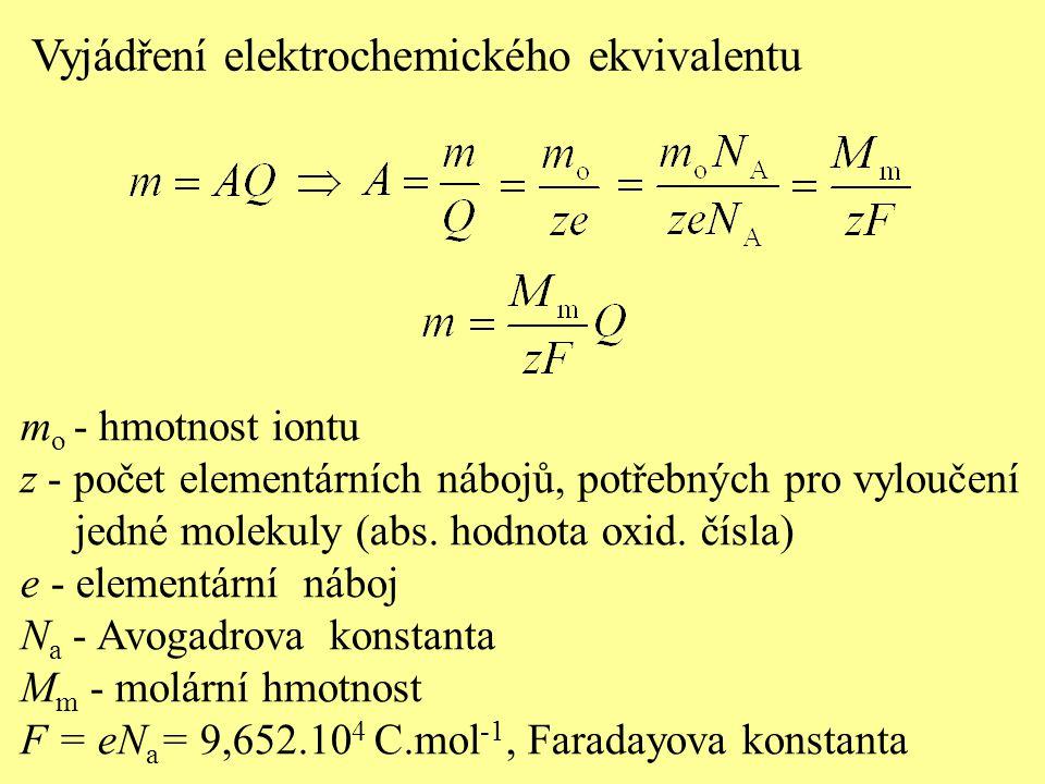 Vyjádření elektrochemického ekvivalentu m o - hmotnost iontu z - počet elementárních nábojů, potřebných pro vyloučení jedné molekuly (abs. hodnota oxi