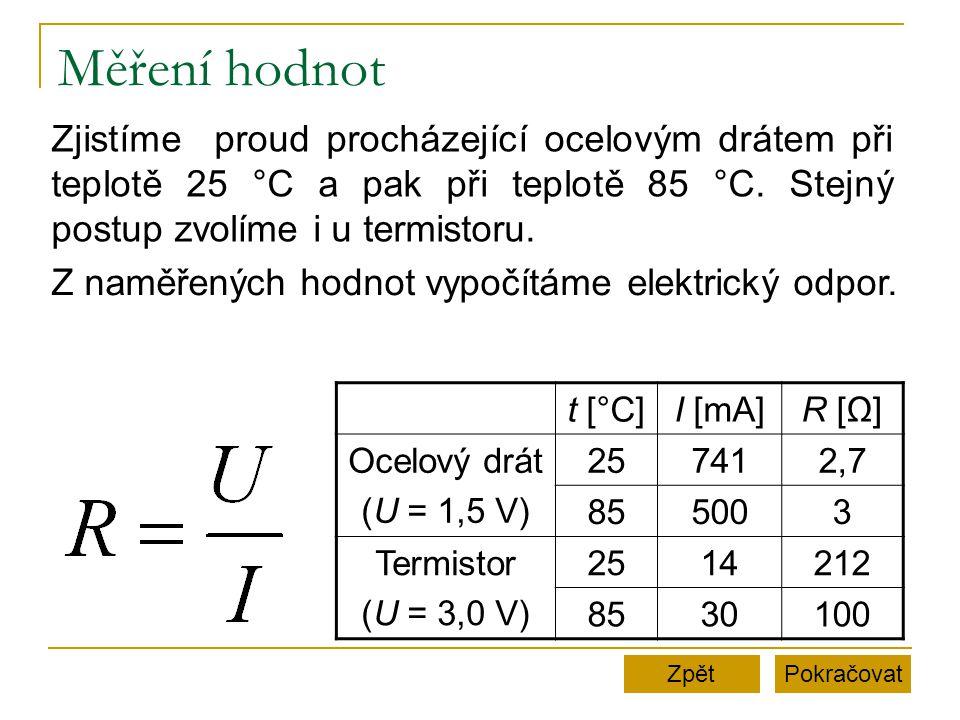 Měření hodnot t [°C]I [mA]R [Ω]R [Ω] Ocelový drát (U = 1,5 V) 257412,7 855003 Termistor (U = 3,0 V) 2514212 8530100 PokračovatZpět Zjistíme proud proc