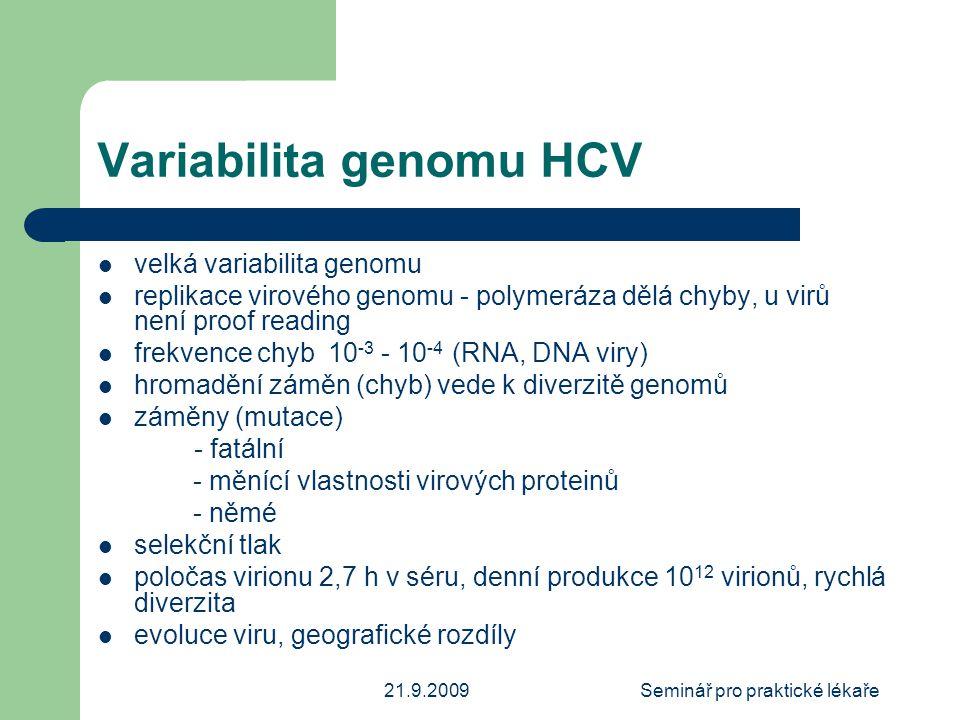 21.9.2009Seminář pro praktické lékaře Variabilita genomu HCV  velká variabilita genomu  replikace virového genomu - polymeráza dělá chyby, u virů ne