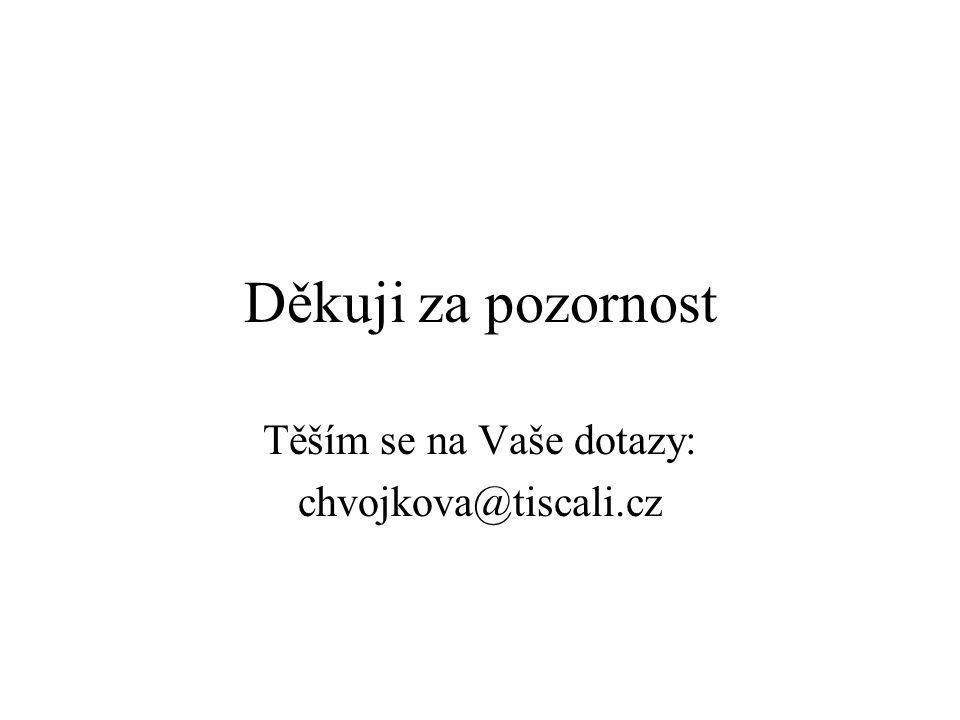 Děkuji za pozornost Těším se na Vaše dotazy: chvojkova@tiscali.cz