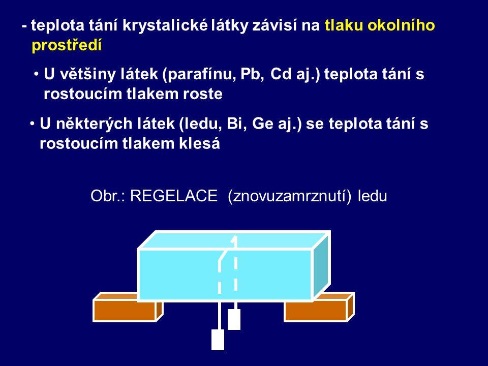 - teplota tání krystalické látky závisí na tlaku okolního prostředí • •U některých látek (ledu, Bi, Ge aj.) se teplota tání s rostoucím tlakem klesá • •U většiny látek (parafínu, Pb, Cd aj.) teplota tání s rostoucím tlakem roste Obr.: REGELACE (znovuzamrznutí) ledu