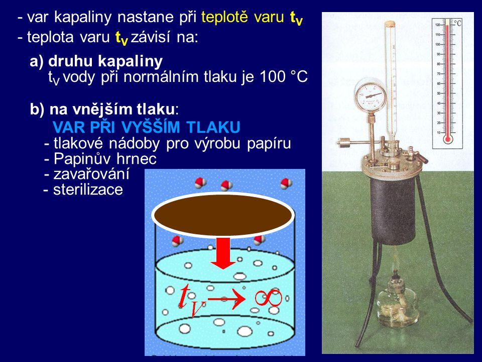 - var kapaliny nastane při teplotě varu t V - teplota varu t V závisí na: a) druhu kapaliny t V vody při normálním tlaku je 100 °C VAR PŘI VYŠŠÍM TLAKU - tlakové nádoby pro výrobu papíru - Papinův hrnec - zavařování - sterilizace b) na vnějším tlaku: