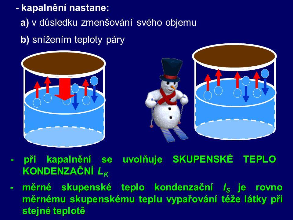 - kapalnění nastane: a) v důsledku zmenšování svého objemu b) snížením teploty páry - při kapalnění se uvolňuje SKUPENSKÉ TEPLO KONDENZAČNÍ - při kapalnění se uvolňuje SKUPENSKÉ TEPLO KONDENZAČNÍ L K - měrné skupenské teplo kondenzační l S je rovno měrnému skupenskému teplu vypařování téže látky při stejné teplotě