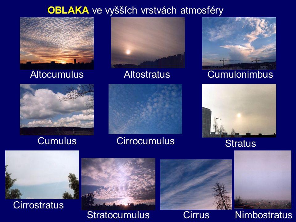 OBLAKA ve vyšších vrstvách atmosféry AltocumulusAltostratusCumulonimbusCumulus Nimbostratus Cirrocumulus Cirrostratus Cirrus Stratocumulus Stratus