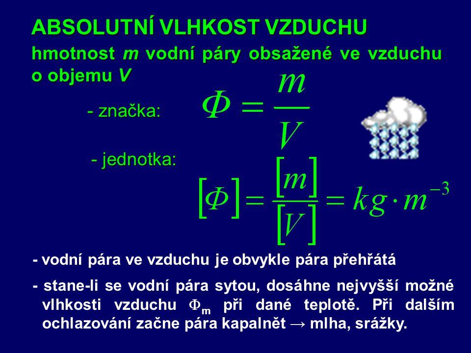 - značka: hmotnost m vodní páry obsažené ve vzduchu o objemu V ABSOLUTNÍ VLHKOST VZDUCHU - jednotka: - stane-li se vodní pára sytou, dosáhne nejvyšší možné vlhkosti vzduchu  m při dané teplotě.