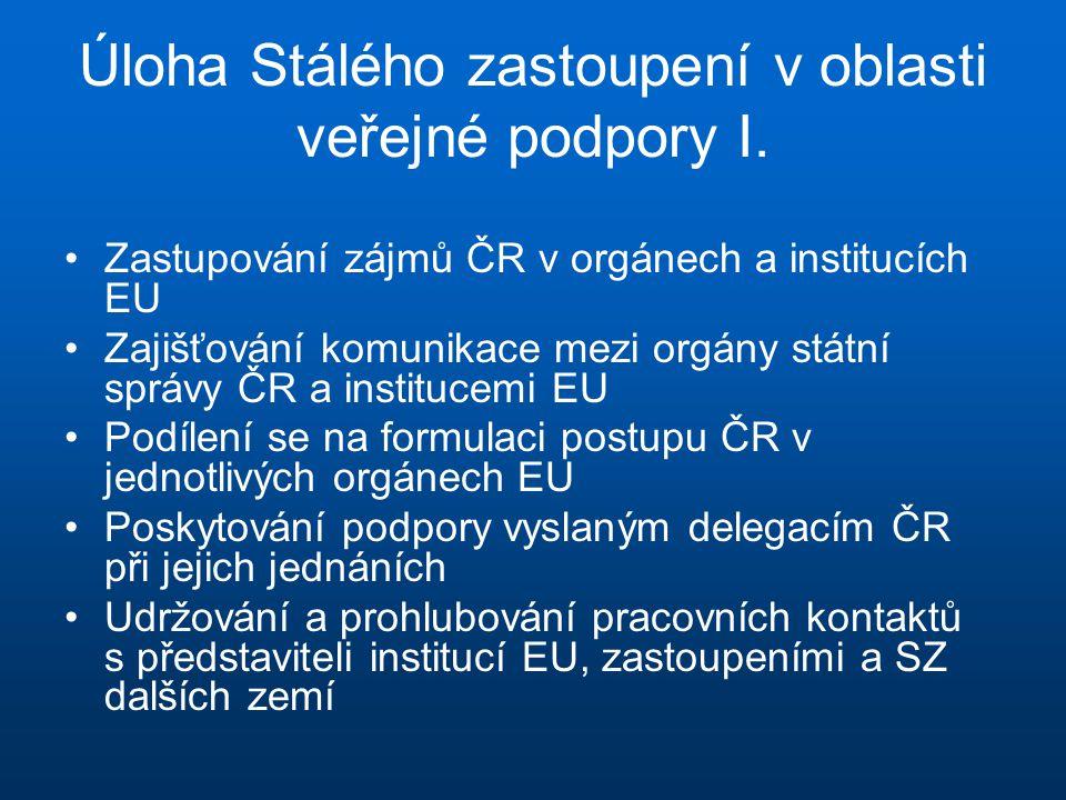 Úloha Stálého zastoupení v oblasti veřejné podpory I. •Zastupování zájmů ČR v orgánech a institucích EU •Zajišťování komunikace mezi orgány státní spr