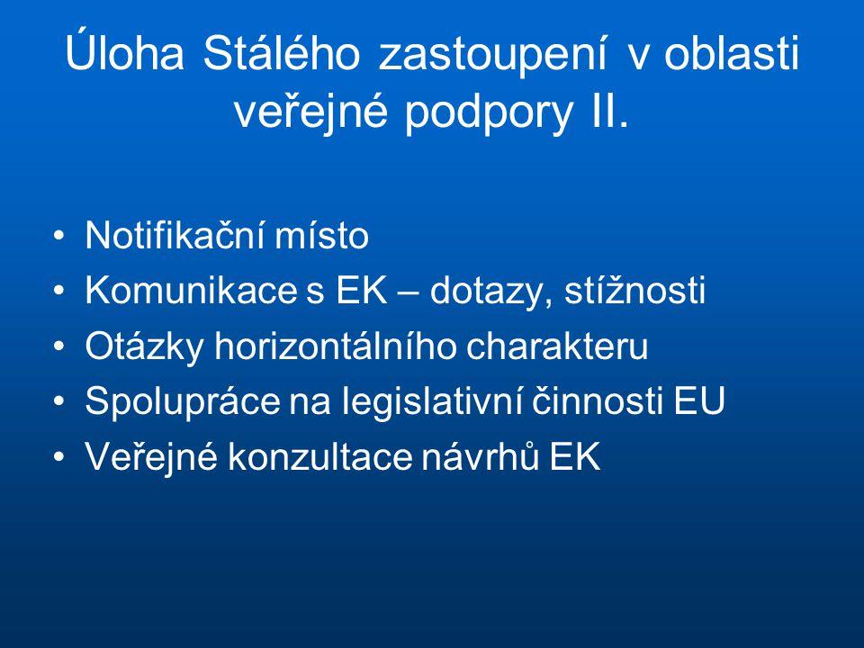 Úloha Stálého zastoupení v oblasti veřejné podpory II. •Notifikační místo •Komunikace s EK – dotazy, stížnosti •Otázky horizontálního charakteru •Spol