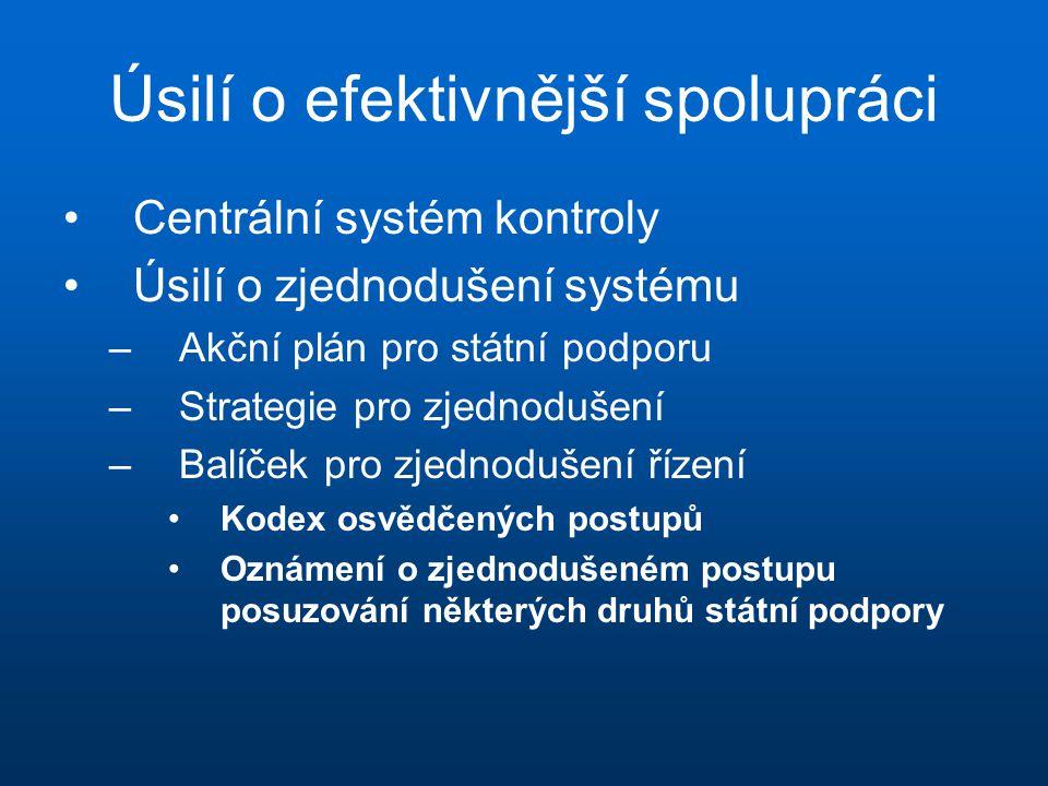 Úsilí o efektivnější spolupráci •Centrální systém kontroly •Úsilí o zjednodušení systému –Akční plán pro státní podporu –Strategie pro zjednodušení –Balíček pro zjednodušení řízení •Kodex osvědčených postupů •Oznámení o zjednodušeném postupu posuzování některých druhů státní podpory