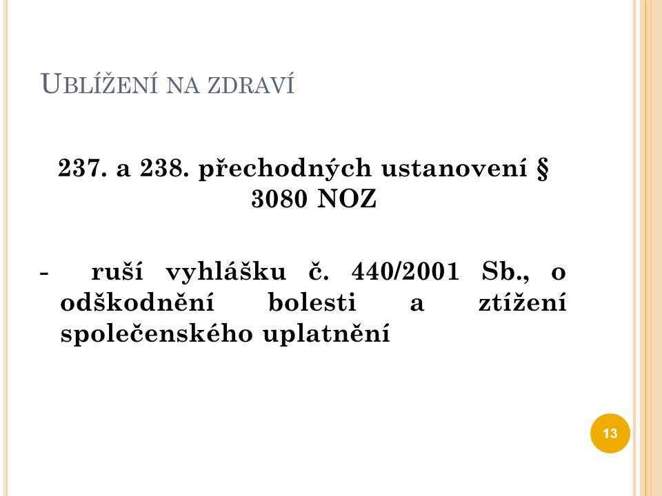 U BLÍŽENÍ NA ZDRAVÍ 237. a 238. přechodných ustanovení § 3080 NOZ - ruší vyhlášku č. 440/2001 Sb., o odškodnění bolesti a ztížení společenského uplatn