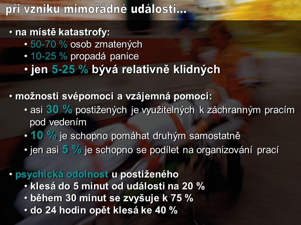 """• za likvidaci katastrofy v ČR odpovídá Hasičský záchranný sbor • zdravotničtí pracovníci vstupují pouze do těch míst, která HZS označil za bezpečná • první lékař na místě se informuje o • počtu postižených • rozsahu jejich postižení • zřídí třídící místo (shromaždiště raněných) s definovaným jedním vstupem a jedním výstupem (určí zejména optimální odsunovou cestu a """"heliport ) • zahájí třídění raněných a řídí ostatní týmy • se ZOS určí pořadí a směrování pacientů prošlých tříděním • ZOS informuje přijímající ZZ – ta aktivují traumaplán • za likvidaci katastrofy v ČR odpovídá Hasičský záchranný sbor • zdravotničtí pracovníci vstupují pouze do těch míst, která HZS označil za bezpečná • první lékař na místě se informuje o • počtu postižených • rozsahu jejich postižení • zřídí třídící místo (shromaždiště raněných) s definovaným jedním vstupem a jedním výstupem (určí zejména optimální odsunovou cestu a """"heliport ) • zahájí třídění raněných a řídí ostatní týmy • se ZOS určí pořadí a směrování pacientů prošlých tříděním • ZOS informuje přijímající ZZ – ta aktivují traumaplán"""