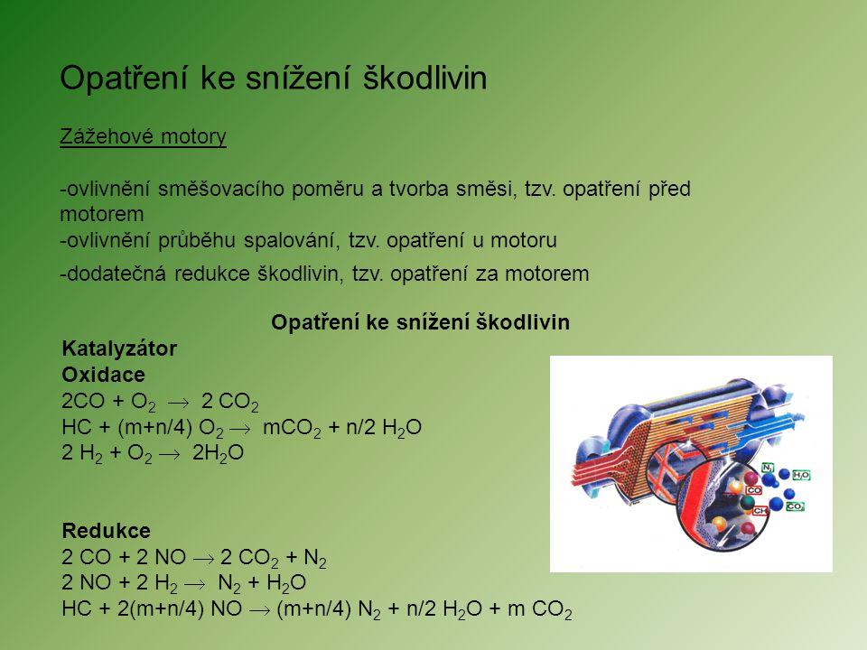 Opatření ke snížení škodlivin Zážehové motory -ovlivnění směšovacího poměru a tvorba směsi, tzv. opatření před motorem -ovlivnění průběhu spalování, t