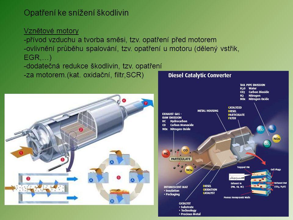 Opatření ke snížení škodlivin Vznětové motory -přívod vzduchu a tvorba směsi, tzv. opatření před motorem -ovlivnění průběhu spalování, tzv. opatření u