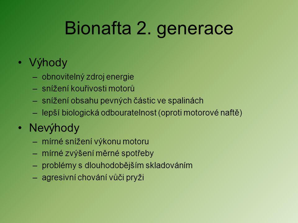 Bionafta 2. generace •Výhody –obnovitelný zdroj energie –snížení kouřivosti motorů –snížení obsahu pevných částic ve spalinách –lepší biologická odbou