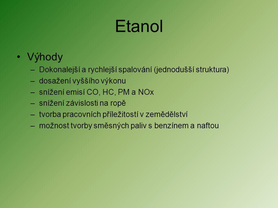 Etanol •Výhody –Dokonalejší a rychlejší spalování (jednodušší struktura) –dosažení vyššího výkonu –snížení emisí CO, HC, PM a NOx –snížení závislosti