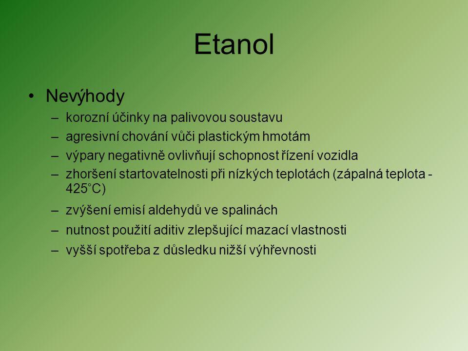 Etanol •Nevýhody –korozní účinky na palivovou soustavu –agresivní chování vůči plastickým hmotám –výpary negativně ovlivňují schopnost řízení vozidla
