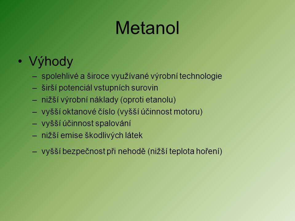 Metanol •Výhody –spolehlivé a široce využívané výrobní technologie –širší potenciál vstupních surovin –nižší výrobní náklady (oproti etanolu) –vyšší o