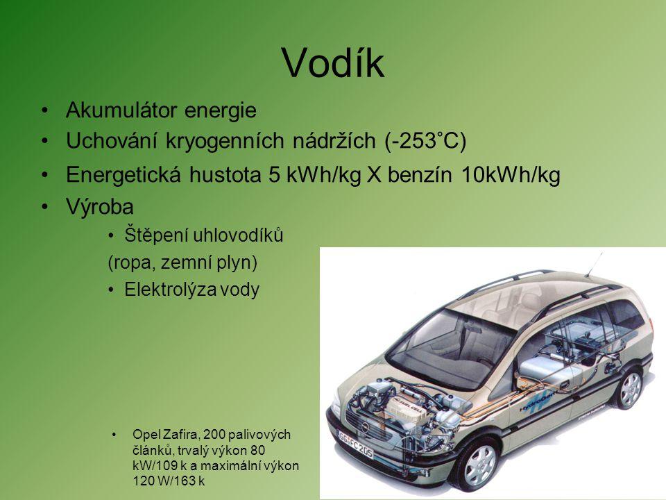 Vodík •Akumulátor energie •Uchování kryogenních nádržích (-253°C) •Energetická hustota 5 kWh/kg X benzín 10kWh/kg •Výroba •Štěpení uhlovodíků (ropa, z