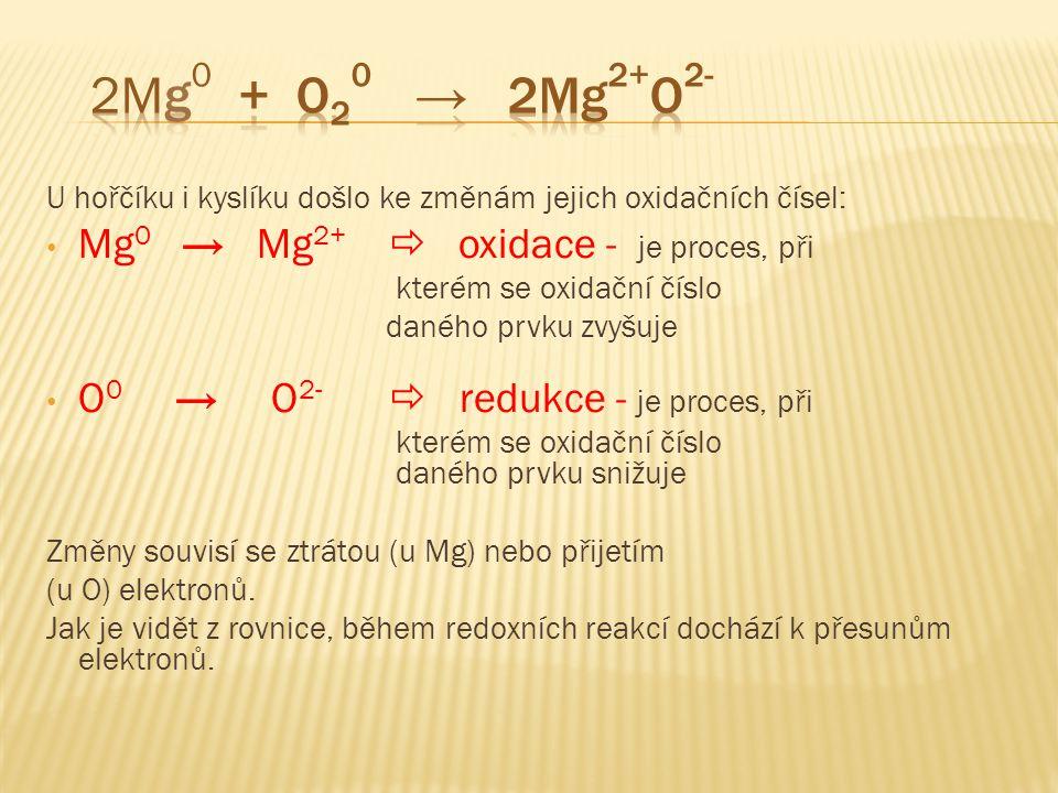 U hořčíku i kyslíku došlo ke změnám jejich oxidačních čísel: • Mg 0 → Mg 2+  oxidace - je proces, při kterém se oxidační číslo daného prvku zvyšuje •