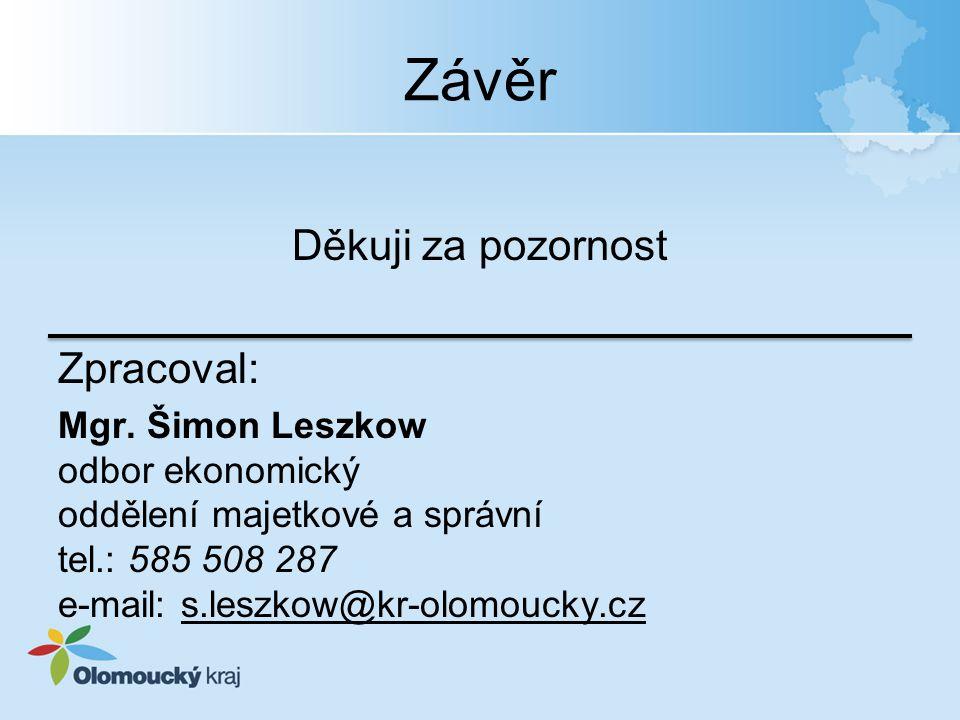Závěr Děkuji za pozornost Zpracoval: Mgr. Šimon Leszkow odbor ekonomický oddělení majetkové a správní tel.: 585 508 287 e-mail: s.leszkow@kr-olomoucky