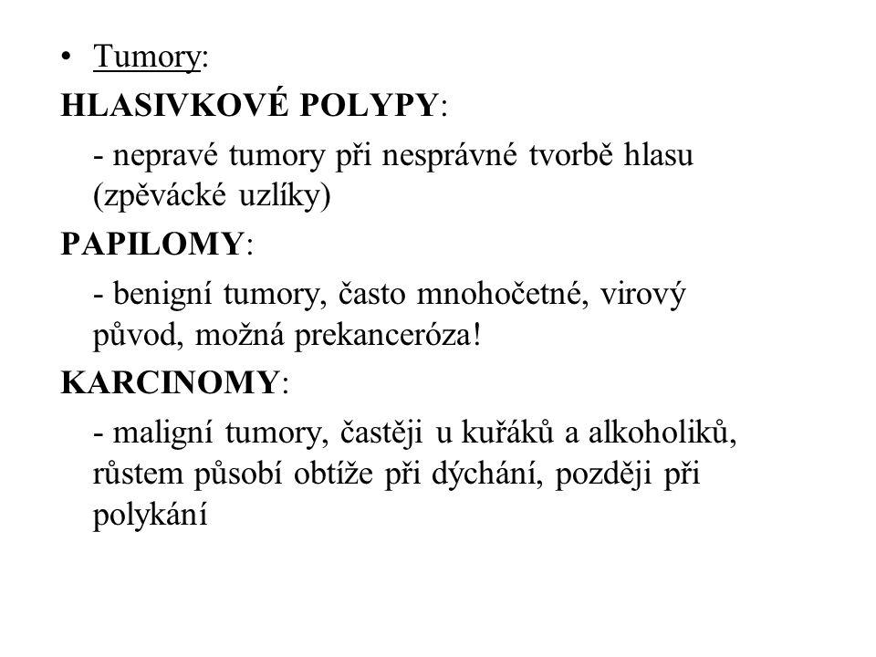 •Tumory: HLASIVKOVÉ POLYPY: - nepravé tumory při nesprávné tvorbě hlasu (zpěvácké uzlíky) PAPILOMY: - benigní tumory, často mnohočetné, virový původ,