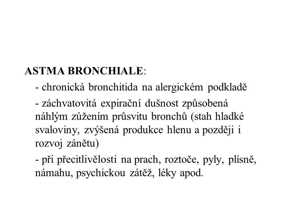 ASTMA BRONCHIALE: - chronická bronchitida na alergickém podkladě - záchvatovitá expirační dušnost způsobená náhlým zúžením průsvitu bronchů (stah hlad