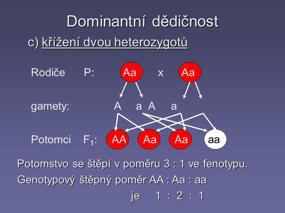 Dominantní dědičnost c) křížení dvou heterozygotů Rodiče P: gamety: Potomci F 1 : Aa x Aa A a Aa AAAa aa Potomstvo se štěpí v poměru 3 : 1 ve fenotypu.