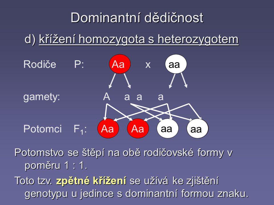 Dominantní dědičnost d) křížení homozygota s heterozygotem Rodiče P: gamety: Potomci F 1 : Aa x aa A a aa Aa aa Potomstvo se štěpí na obě rodičovské formy v poměru 1 : 1.