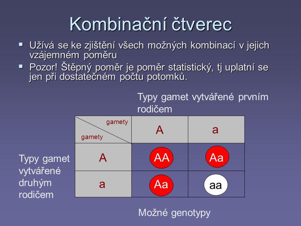 Kombinační čtverec  Užívá se ke zjištění všech možných kombinací v jejich vzájemném poměru  Pozor.