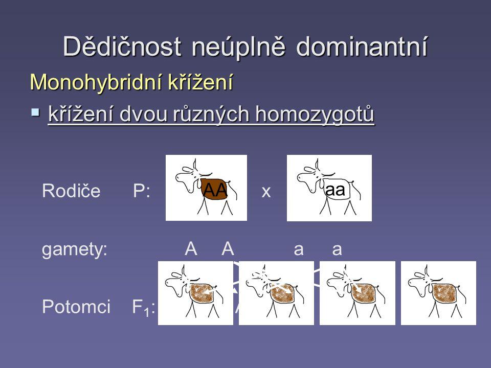 Rodiče P: gamety: Potomci F 1 : AA x aa A A aa Aa Dědičnost neúplně dominantní Monohybridní křížení  křížení dvou různých homozygotů AA aa